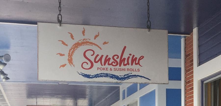 Sunshine Poke & Sushi Rolls Storefront Signage