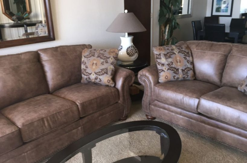 a201 brown leather sofa and love seat