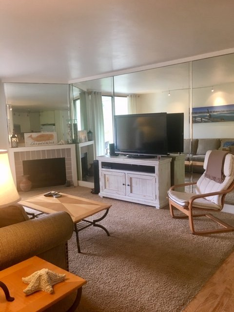 C-103 living room with fireplace and flat screen tv