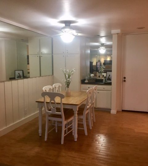 c103 dining room table with wet bar and partially mirrored wall and ceiling fan
